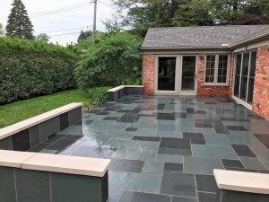 Bluestone Patio with limestone coping
